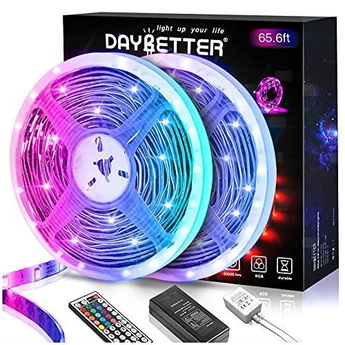DAYBETTER 65.6ft Led Strip Lights, Lights Strip for Bedroom, Color Changing 5050 RGB Lights, 2 Rolls of 32.8ft LED Lights with 44 Keys IR Remote Controller