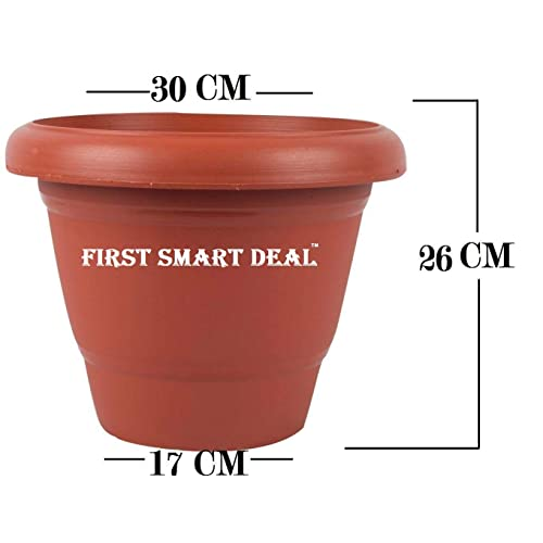 First Smart Plastic Round Pot (12-inch, Brown, Pack of 5)