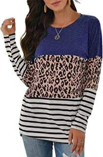 Miracle Womens Crew Neck T-Shirt Long Sleeve Stripe Print Color Block Casual Loose T-Shirt Tops T Shirt
