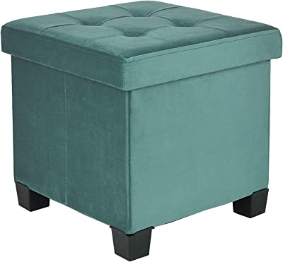 BRIAN & DANY Foldable Velvet Tufted Storage Ottoman with Wooden Lid, Cube Footstool with Wooden Legs & Highly Elastic Sponge Filling, GREEN
