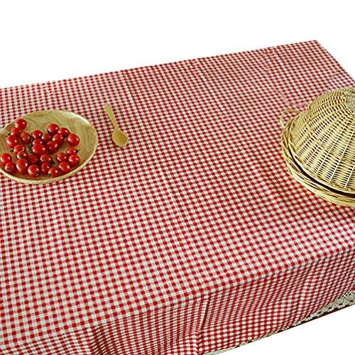 NiSeng Decoration de Table - Nappe de Table en Lin a Carreaux pour Table Rectangulaire, Table Carrée d Table Ronde/Nappes avec Dentelle Anti Taches Rouge 140x220 cm