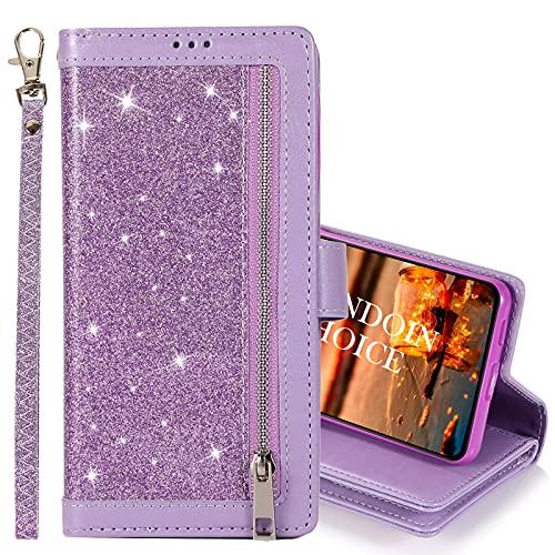 GrandoinChoice Hülle für Samsung Galaxy S8 Plus, Bling Reißverschluss Handyhülle PU Leder Klapphülle mit 9 Kartenfächer Standfunktion Geldbörse Trageband Schutzhülle Wallet Case (Lila)