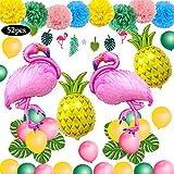 SPECOOL Hawaiian Tropical Decoration, 52PC Articoli per Feste in Spiaggia con Ananas Color...