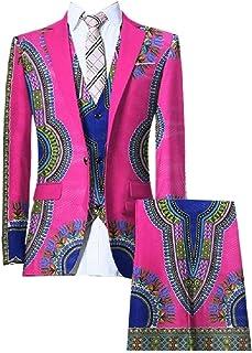 b1777eddffa1 Highisa Mens Small Blazer African Print Plus Size Set 3-Piece Business Suit