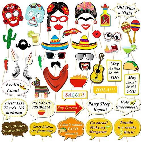 HOWAF 50 Stück Mexikanische Fiesta Photo Booth Props Fotorequisiten Foto Accessoires Hüte Brillen Masken für Mexikanische Dekoration Hochzeit Geburtstag Babyparty