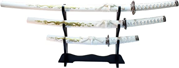 3 Pc White Dragon Design Samurai Katana Swords Set with Stand