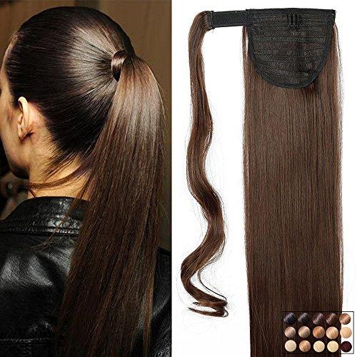 """Pferdeschwanz Extensions Ponytail Haarteil Clip in Extensions wie Echthaar Zopf Glatt Kunsthaare günstig Haarverlängerung 23\""""(58cm)-120g Mittelbraun"""