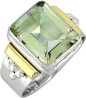 YoTreasure Green Amethyst Solid 925 Sterling Silver Brass Ring Genuine Gemstone Jewelry For Women or Girls