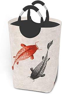 N\A Panier à Linge Japonais Rouge et Noir Koi carpes avec poignées Grand Organisateur Pliable Panier à Linge pour Chambre ...