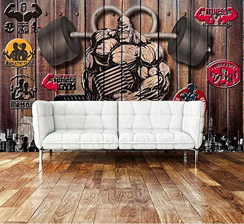 WLPBH Autoadhesivo 3D Mural Retro Nostálgico Ejercicio Gimnasio (W) 200X (H) 150Cm Papel Tapiz Sala De Estar Dormitorio Restaurante Bar Oficina Corredor Decorativo Arte De La Pared 3D Foto Mural Ni