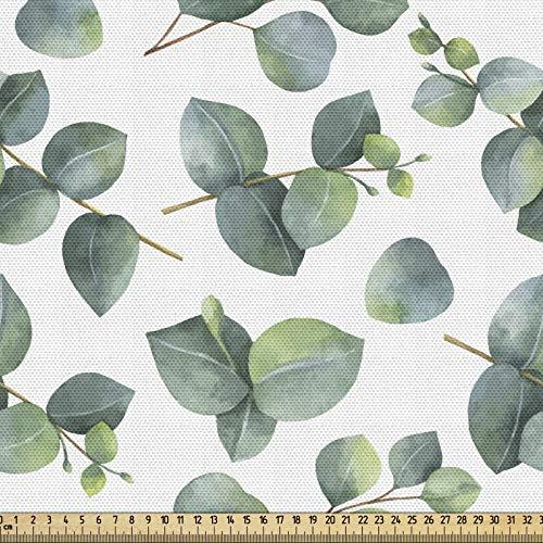 ABAKUHAUS Arkusz tkaniny jako towar na metry, akwarela sztuka eukaliptusa, gęsto tkana tkanina do szycia, tapicerka, akcesoria do domu, 3M (148x300cm), jasnobrązowy, biały, zielony