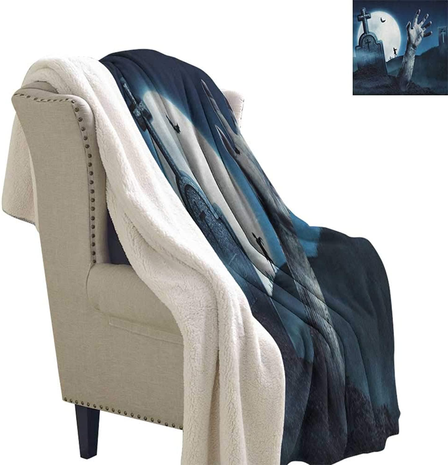 Suchashome Zombie Soft Premium Cotton Thermal Blanket Dead Person Arm Cemetery Bat Flying Full Moon Ghost Devil Illustration Design Blanket Small Quilt 60x32 Inch Slate bluee Grey