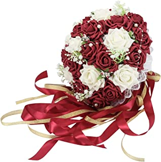 Febou Wedding Bridal Bouquet, Wedding Bride Bouquet, Wedding Holding Bouquet with Artificial Roses Lace Pearl Long Ribbon, Perfect for Wedding, Church(Long Ribbon, White+Dark Red)