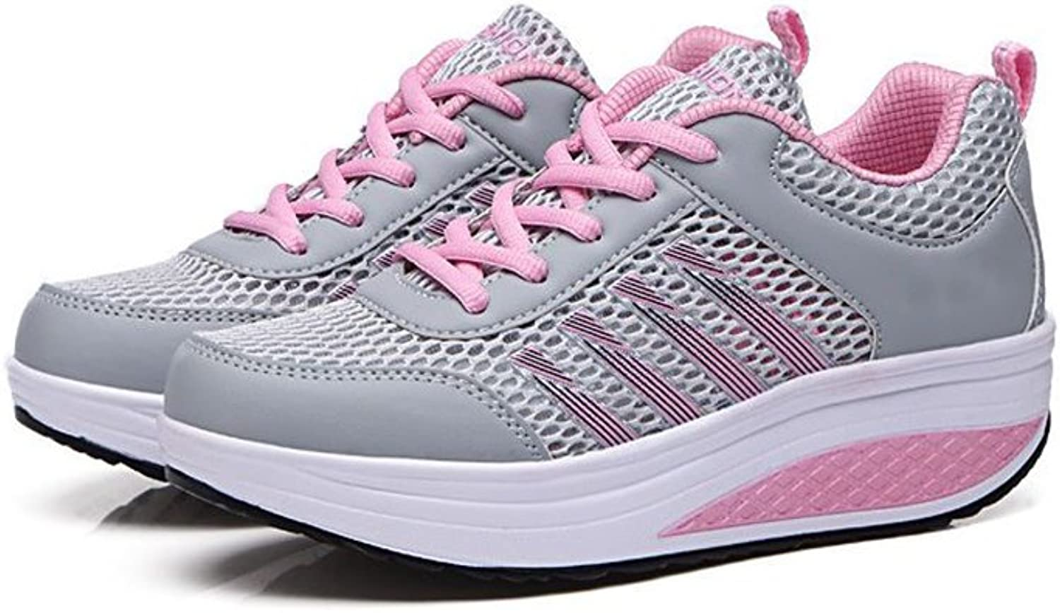 pink town Women's Mesh Wedge Sports shoes Slip On Lightweight Fitness Walking Sneakers