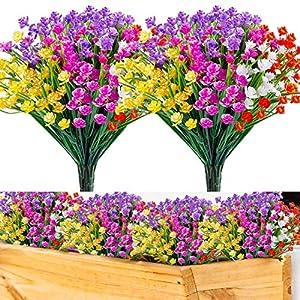 HATOKU 24pcs Artificial Spring Flowers Outdoor UV Resistant Fake Shrubs Plants for Farmhouse Gravesite Porch Window Box Decoration (5 pcs Purple/Magenta/red/Yellow and 4pcs White)
