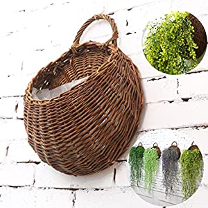 Banwen Hand Made Decorative Hanging Basket Plant Artificial Flower Vine for Home Garden Wall and Wedding Decoration