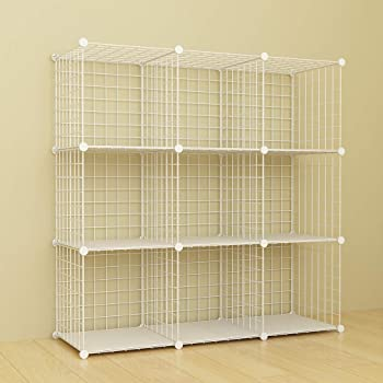 SIMPDIY Storage Rack with Metal Wire Mesh 9 Cubes Bookshelf 37x12.5x49INCH Large Capacity White Simple Storage Shelves