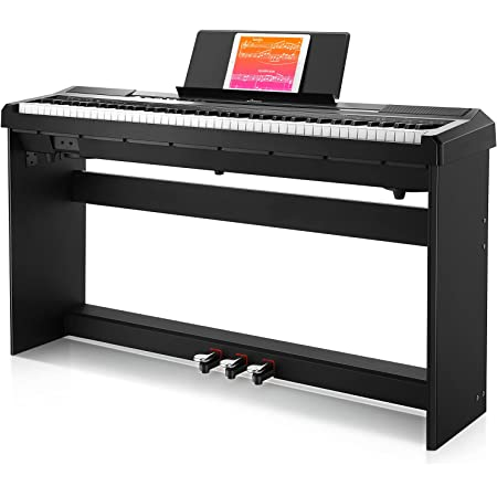 Portable Beginner Electric Piano with Pedal DEP-10 Donner Digital Piano Keyboard 88 Keys Full Size Semi Weighted