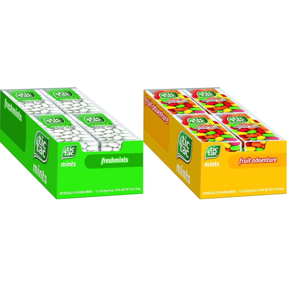 Tic Tac Bundle, 12 Count Freshmint + 12 Count Fruit Adventure