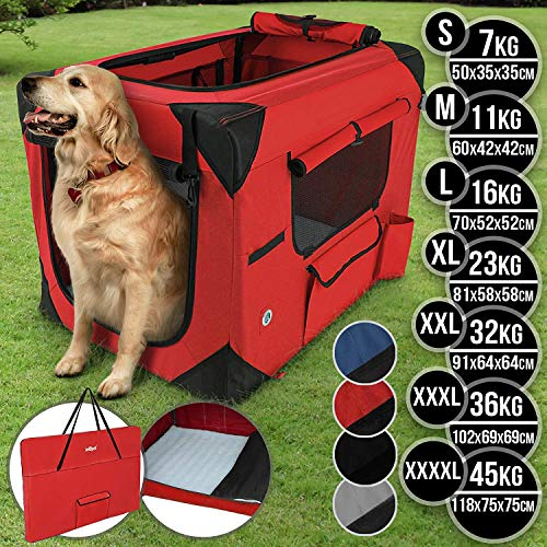 Hundebox aus Stoff - faltbar, zusammengefaltet tragbar, abwaschbar, Farbwahl, Größenwahl S-XXXXL - Hundetransportbox, Auto Transportbox, Katzenbox für Hunde, Katzen und Kleintiere (L, Rot)