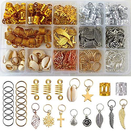 220 Pieces Braiding Hair Rings, 15 Style Hair Jewelry for Women Braid Hair Clips Pendant Rings Headband Accessories, Hair Jewels for Braids Hair