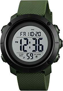 TONSHEN Double Time Digital Sport Watch for Men and Women Outdoor Military 50M Waterproof LED Electronic Stopwatch Alarm Countdown Multifunction Wrist Watches with Rubber Band (Green White) …