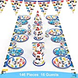 decalmile 146 Piezas Vajilla Diseño de Transportes para 16 Infantiles Decoración de Fiesta de Cumpleaños (Platos, Tenedores Cucharas Cuchillos, Vasos, Pajitas, Servilletas, Gorros, Bandera, Mantel)