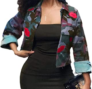 Howely Womens Long-Sleeve Stylish Pocket Lounge Camo Short Coat Jacket