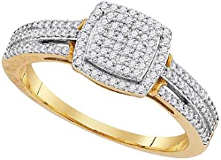 FB Jewels 10kt Yellow Gold Womens Round Diamond Square Bridal Wedding Engagement Ring 1/4 Cttw Size 7
