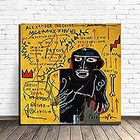 海外限定 ジャン=ミシェル・バスキア Jean-Michel Basquiat 大型サイズあり キャンバス ポスター 美術品 絵画 (50×50cm)