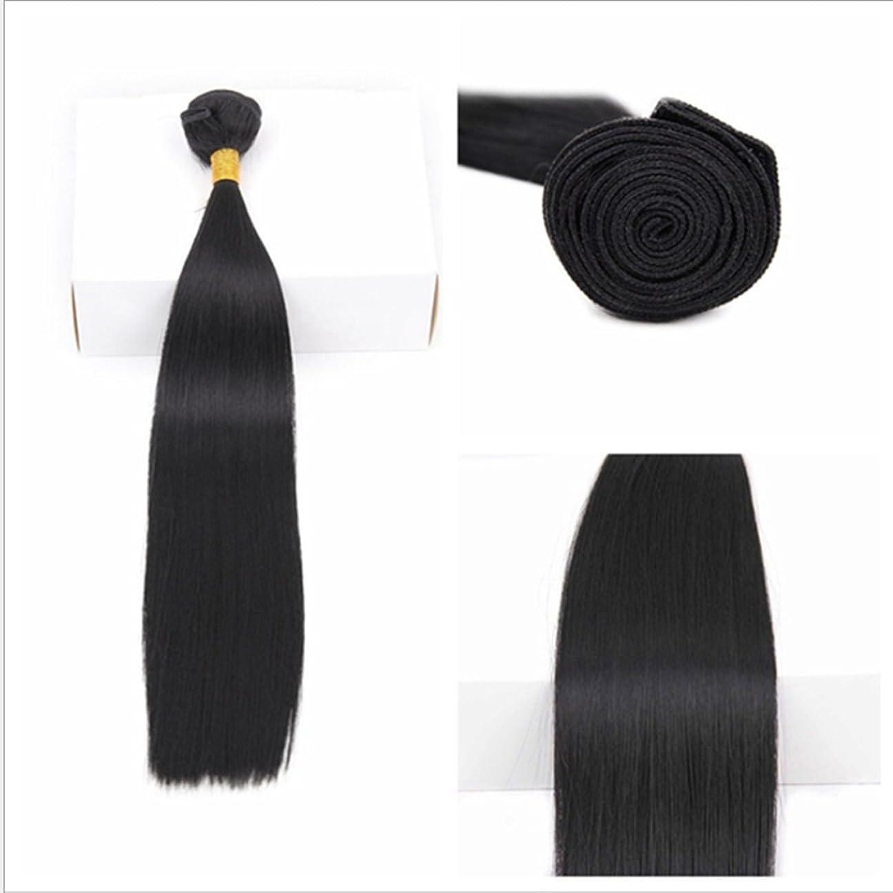 謎含意独立JIANFU ブラジル 女性 耐熱 長い ストレート ウィッグ ヘア カーテン 非染色(70g / 100g) 18 インチ 至る 10インチ ブラックヘア (サイズ : 18inch(100g))