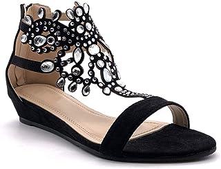 Angkorly - Chaussure Mode Sandale Plate Ouvert Oriental Femme Diamant Bijoux Strass Diamant Talon compensé