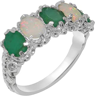f45e691685aed8 9ct White Gold Natural Emerald & Opal Womens Eternity Ring - Sizes J to Z  Available