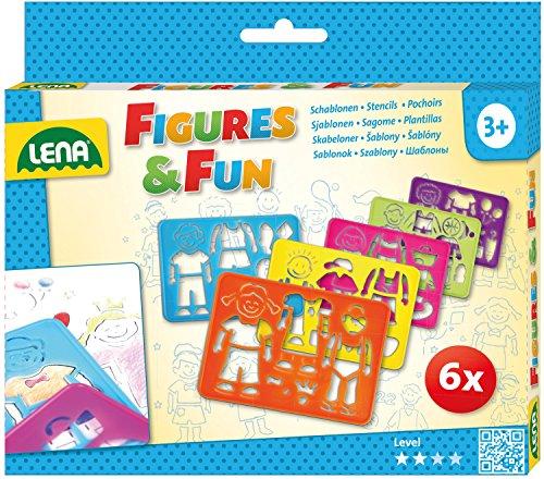 Lena 65750 Zeichenschablonen Set, mit 6 Schablonen mit je 1 Figur, dazugehöriger Kleidung und Zubehör, Malschablonenset für Kinder ab 3 Jahre, Malvorlagen zum Zeichnen Lernen und Ausmalen, Mehrfarbig