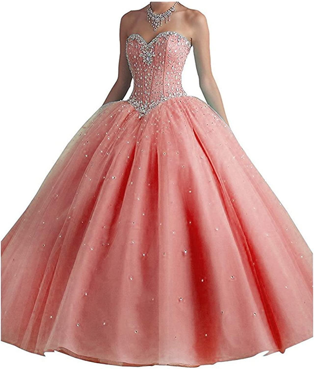 EverBeauty Womens Crystals Strapless Quinceanera Dress Long Sweetheart Tulle Sweet 16 Prom Ball Gown