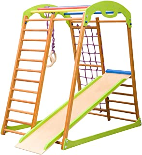 Dani LLC Indoor Wooden Playground for Kids SportWood Indoor Gym Sets Up Climbing Ladder Swing Slide and Rings (BabyWood)