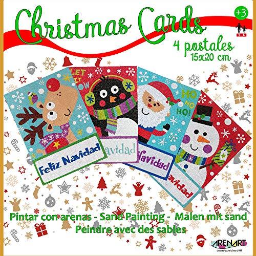 Arenart - Set Pintar con Arenas de Colores - 4 Postales felicitación Navidad 15x20 cm