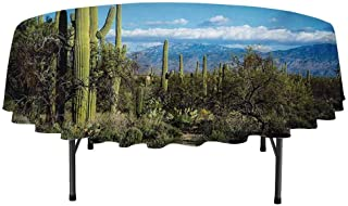 Desert Easy to Care for Leakproof and Durable Round tablecloths Wide View of The Tucson Countryside with Cacti Rural Wild Landscape Arizona Phoenix Outdoor Picnic D51 Inch Green Blue
