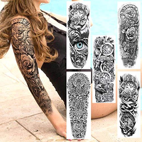 5Pcs Tatuaggi Temporanei Realistici A Braccio Completo Falsi 3D Maori Rose Orologio Tatuaggio Adesivo Per Uomo Donna Tatuaggi Occhio Impermeabili Art