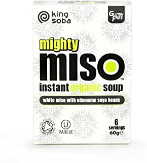 King Soba - Mighty Miso - White Miso with Edamame Soya Beans Instant Organic Soup - 60g
