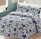 Bedspread Coverlet Quilt Set Kids/Teens Boys Construction Crane Trucks Cement Truck White Blue Green Black Grey New (Full/Queen)