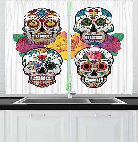 """Ambesonne Sugar Skull Kitchen Curtains, Different Types of Skulls Rich and Colorful Ornaments Roses Border Carnival, Window Drapes 2 Panel Set for Kitchen Cafe Decor, 55"""" X 39"""", Rainbow"""