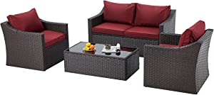 EROMMY 4 Pcs Patio Furniture Sets Retro Wicker PE Rattan Conversation Furniture Set with 4 Seats,Tempered Glass Table Top for Garden,Backyard,Porch,Poolside,Red Wine