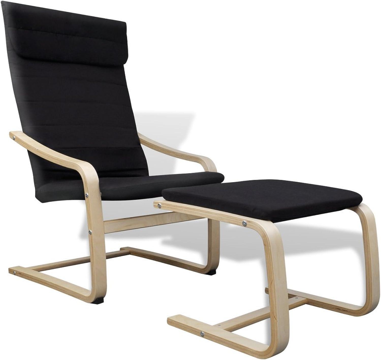 Anself Schwingsessel Freischwinger Schaukelstuhl Relaxstuhl Sessel mit Fuhocker aus Birkenholz Belastbarkeit 90 kg 2 Farbe Optional