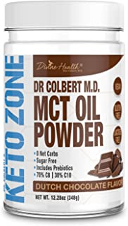 Keto Zone MCT Oil Powder | All Natural Dutch Chocolate | 300 Grams & 30 Day Supply | Recommended in Dr. Colbert's Keto Zone Diet | Ketogenic Creamer | Best MCT Powder | 70% C8 30% C10 | 0 Net Carbs