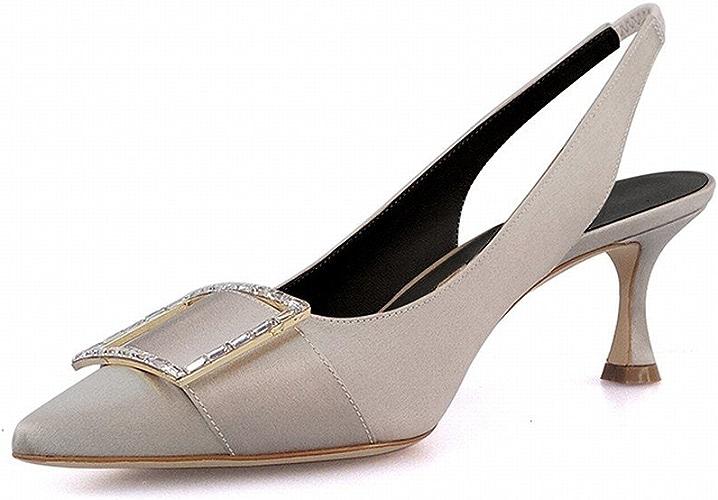 DIDIDD Nain à Boucle Carrée Pointue avec des Sandales à la Mode pour Porter la Bouche Peu Profonde avec de Vraies Chaussures,gris Argent,39