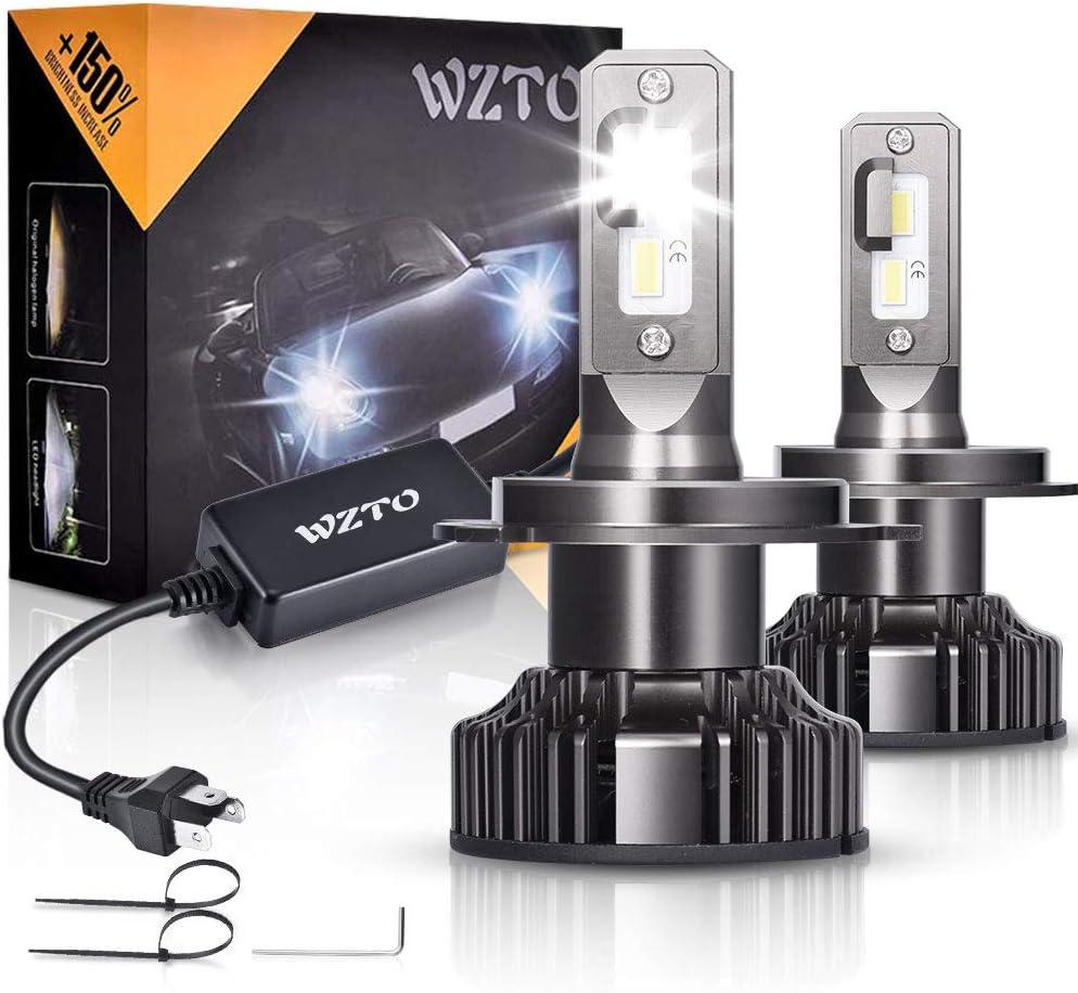 H4 LED, WZTO 12000LM Bombilla H4 led Coche Faros Delanteros 70W (35 X 2) 6000K Bombilla Kit IP67 Impermeable - Garantía de 2 Años, 2 unidades