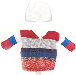 KSS Hand Knit Burnt Oange Ombre SweaterCardigan with a Hat Newborn SW-785