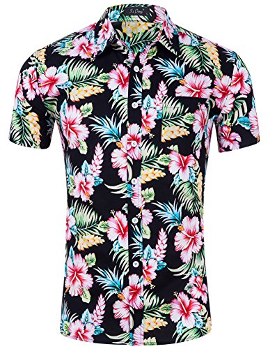 XI PENG Mens Tropical Short Sleeve Floral Print Beach Aloha Hawaiian Shirt