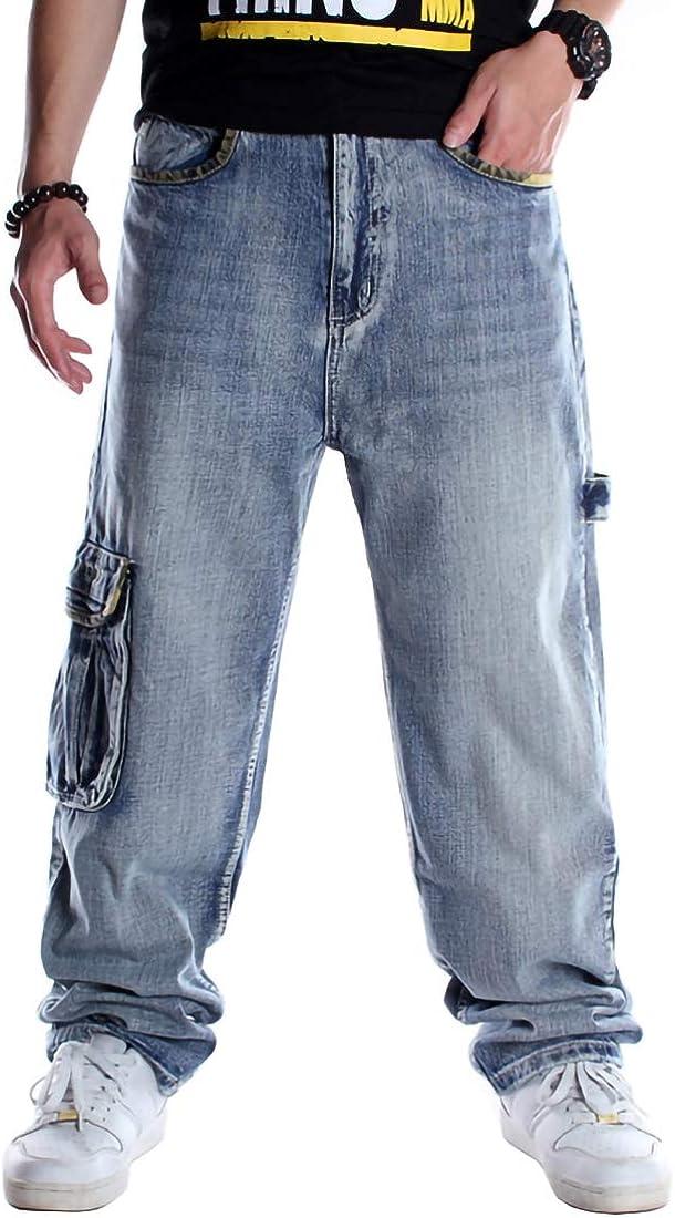 Anpox Men Jeans Loose Luxury Straight Leg Long Pants Denim overseas Hip-Hop Skat
